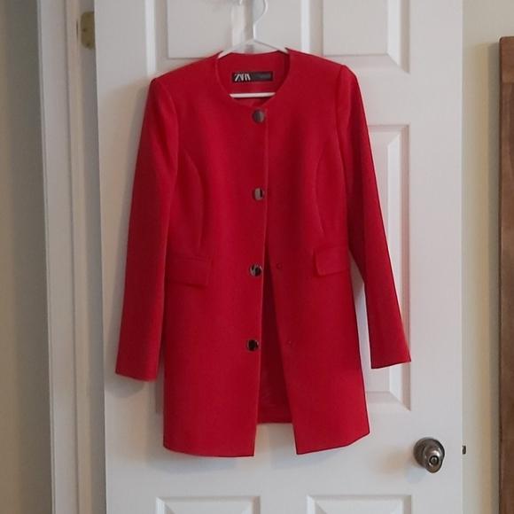 Zara red dress coat